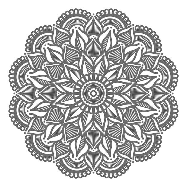 Dekorative mandalaillustration der blumenlinienkunst für abstraktes und dekoratives konzept Premium Vektoren