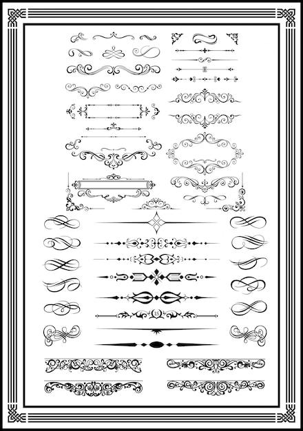 Dekorative monogramme und kalligraphische ränder schwärzen farbe Premium Vektoren