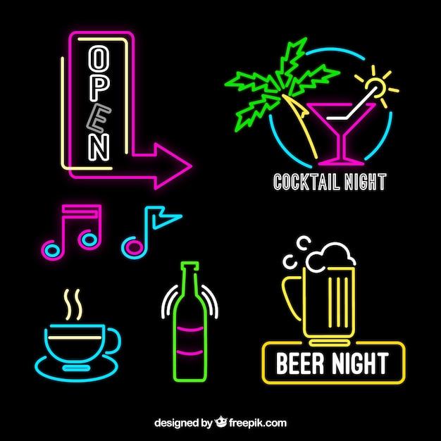 dekorative neonleuchten plakate mit verschiedenen farben download der kostenlosen vektor. Black Bedroom Furniture Sets. Home Design Ideas