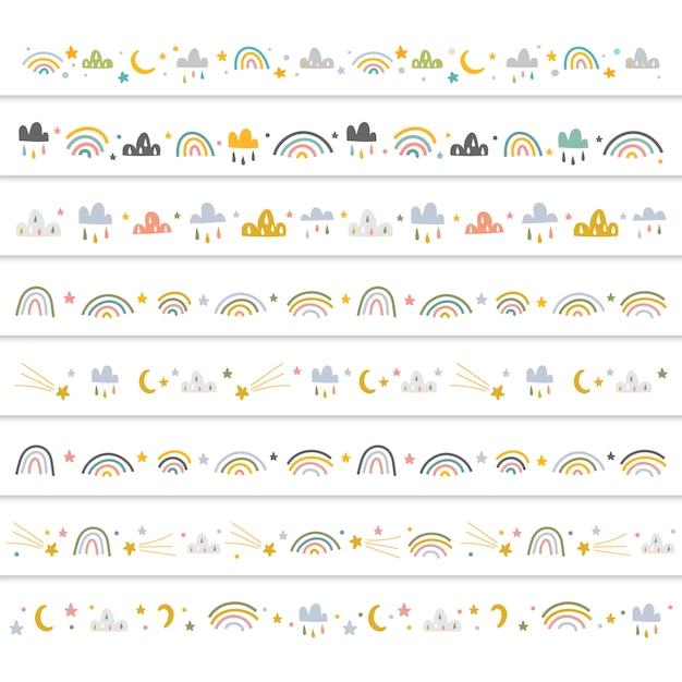 Dekorative ränder mit gekritzelillustrationen für babys Premium Vektoren