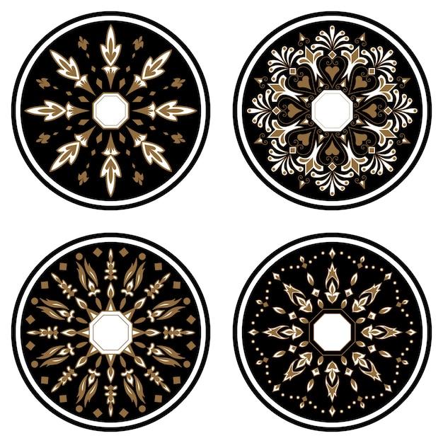Dekorative runde spitze mit damast- und arabeskenelementen. mehndi-stil. Kostenlosen Vektoren