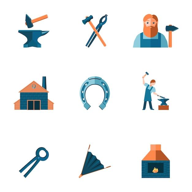 Dekorative schmiede shop amboss stahl zangen werkzeuge und hufeisen piktogramme symbole sammlung flache isoliert vektor-illustration Kostenlosen Vektoren