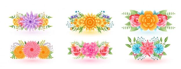 Dekorative schöne blumenblumen mit blättern besetzt Kostenlosen Vektoren