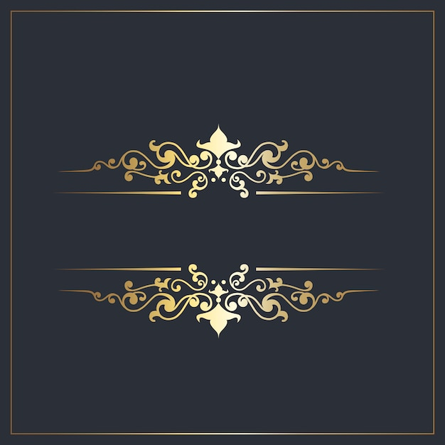 Dekorative separatoren mit goldenen zierdetails Kostenlosen Vektoren
