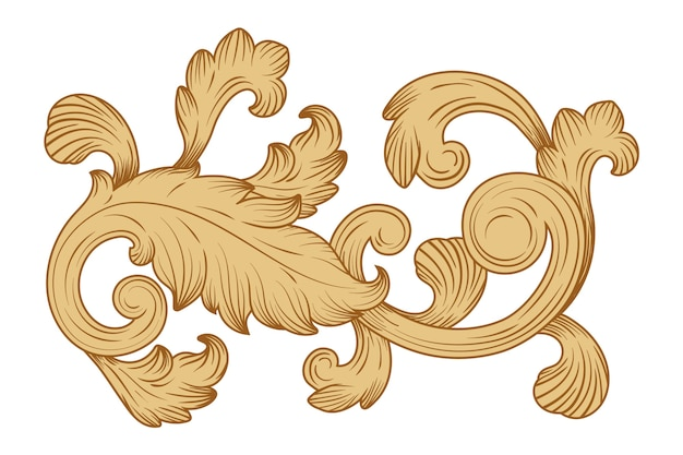 Dekorative sepia-bordüre im barockstil Premium Vektoren