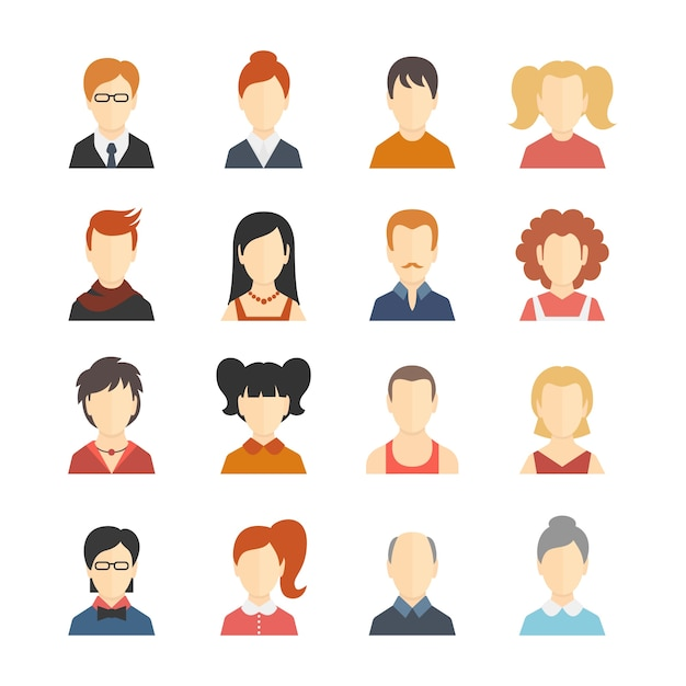Dekorative Social Media Business Blog Benutzer Profil avatar trendy Frisur Design Icons Sammlung isoliert flache Vektor-Illustration Kostenlose Vektoren