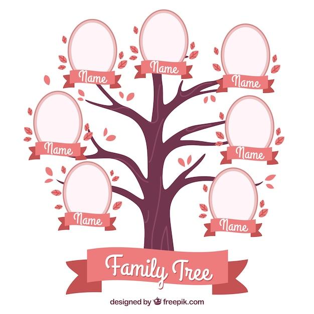 Dekorative stammbaum in rosa tönen Kostenlosen Vektoren