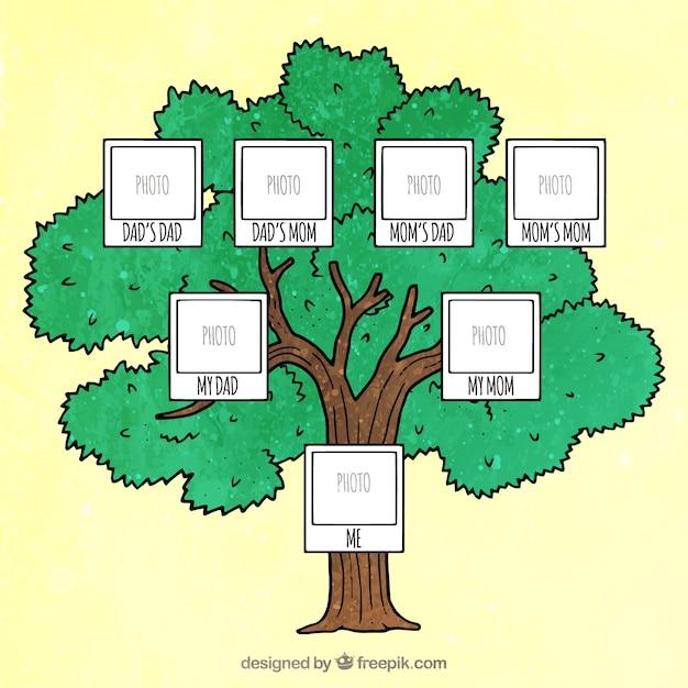 Dekorative stammbaum mit platz für foto Kostenlosen Vektoren