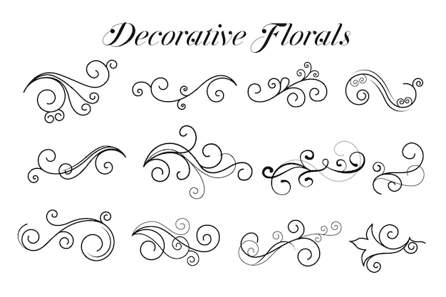 Dekorative strudelblumenschmuckkollektion Kostenlosen Vektoren