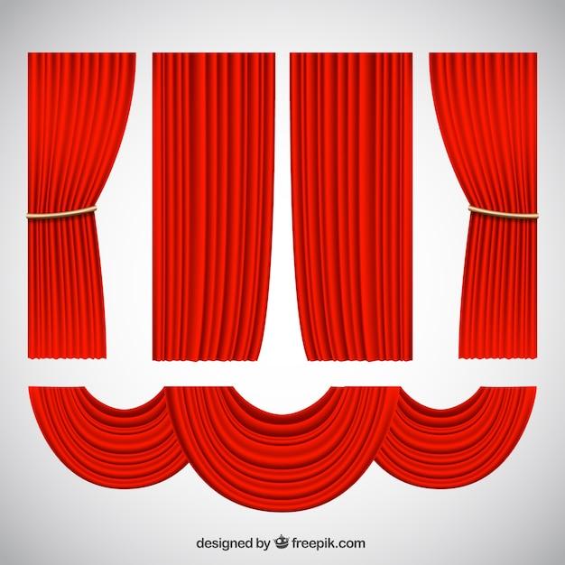 Dekorative theater vorh nge in realistischen stil download der premium vektor - Dekorative vorhange ...