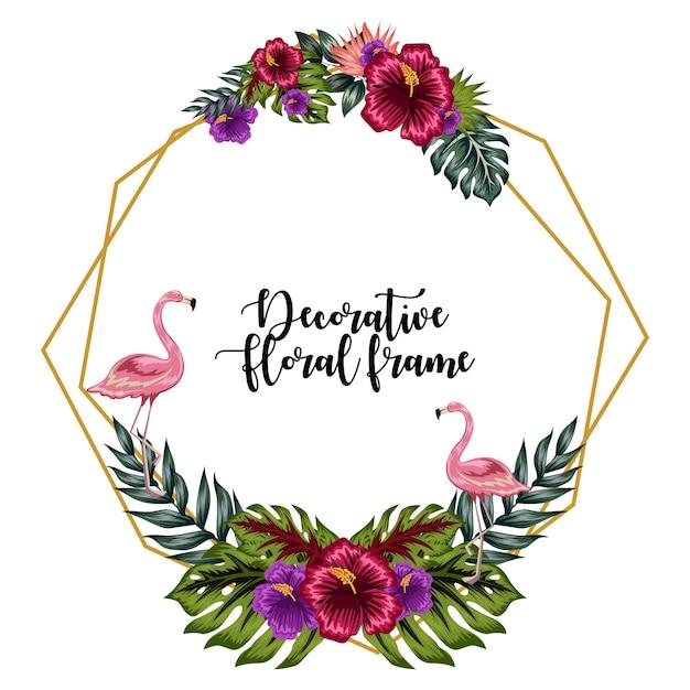 Dekorative tropische blumenrahmenverzierung mit flamingo Premium Vektoren