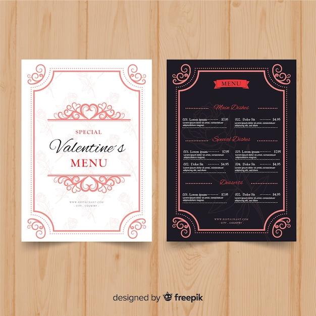 Dekorative valentinstag-menüvorlage Kostenlosen Vektoren