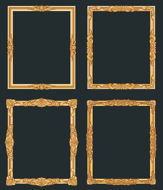 Dekorative vintage goldene rahmen. alte glänzende luxusgoldgrenzen. Premium Vektoren