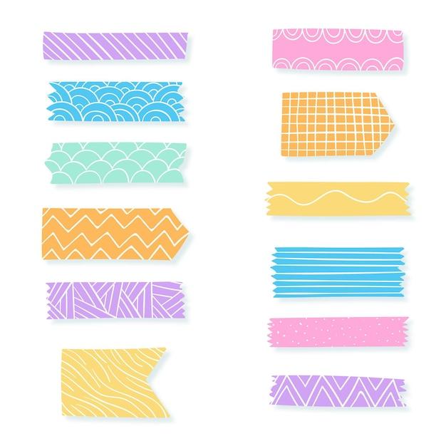 Dekorative washi tape sammlung Premium Vektoren