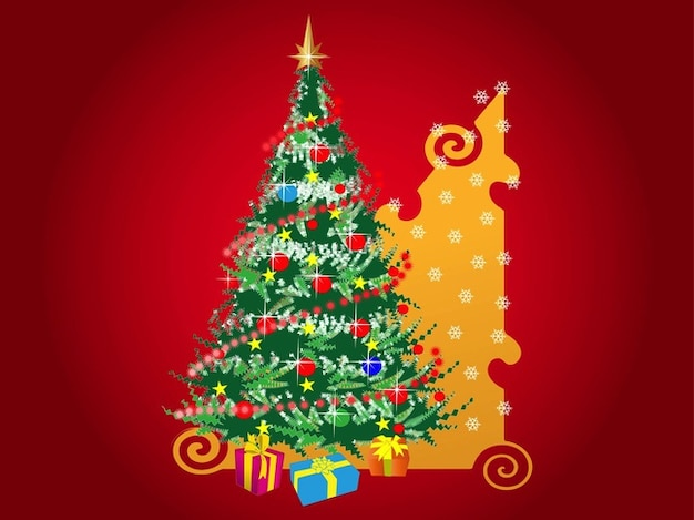 dekorative weihnachtsbaum mit geschenken download der. Black Bedroom Furniture Sets. Home Design Ideas