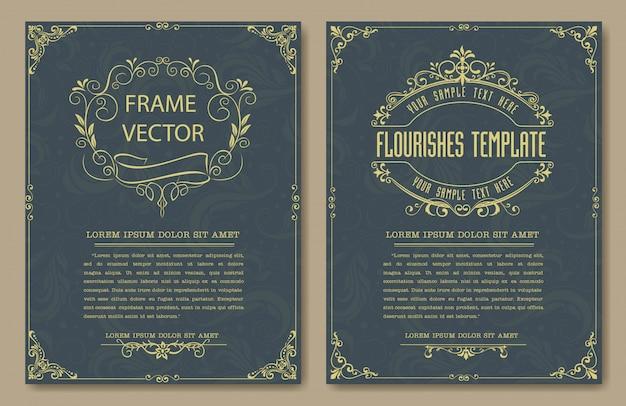 Dekorative weinlesefelder und grenzen stellten vektor ein Premium Vektoren