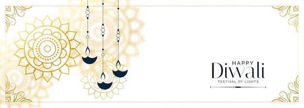 Dekorative weiße glückliche diwali diya fahne Kostenlosen Vektoren