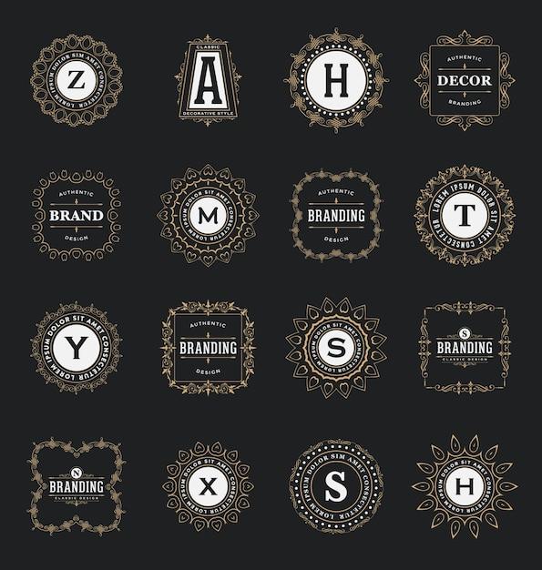 Dekorative zier-logo-sammlung Kostenlosen Vektoren