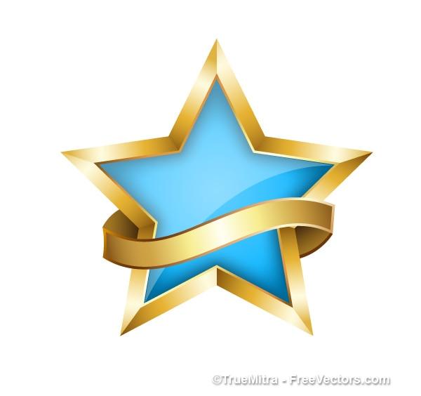 Dekorativen stern mit goldenen band Kostenlosen Vektoren