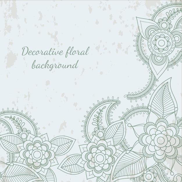 Dekorativer blumenblatt-hennastrauchhintergrund Premium Vektoren
