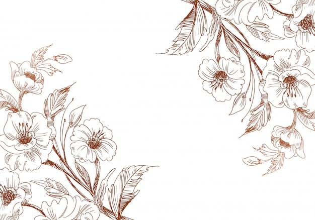 Dekorativer blumenhintergrund der dekorativen skizze der künstlerischen weinlese Kostenlosen Vektoren