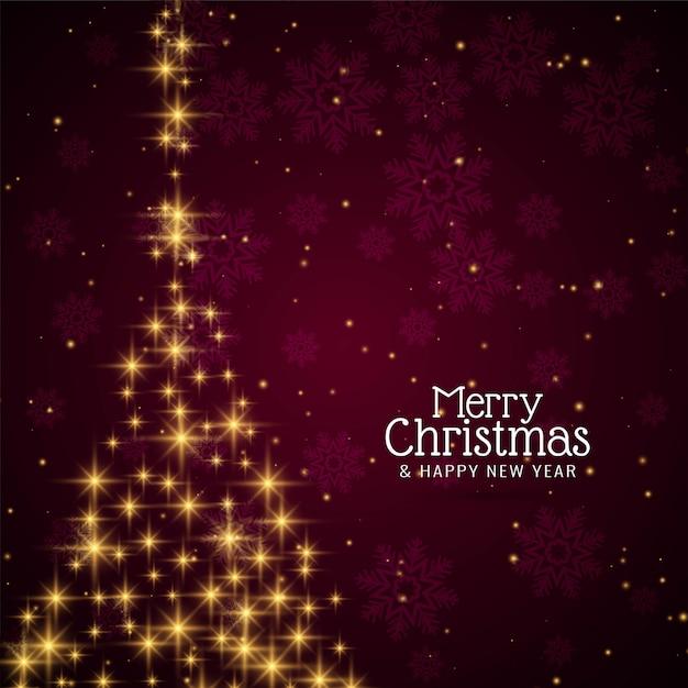 Dekorativer festlicher sternenklarer baum der frohen weihnachten Kostenlosen Vektoren