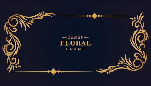 Dekorativer goldener dekorativer blumenrahmenhintergrund Kostenlosen Vektoren