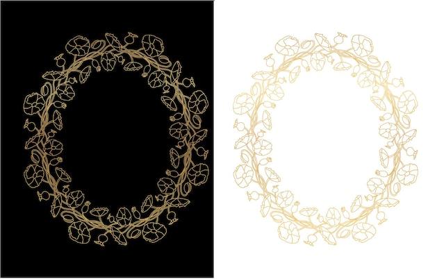 Dekorativer goldkranz mit blumenmotiven. sommergoldrahmen mit blüten und blättern. vektor isolierte illustration. Premium Vektoren