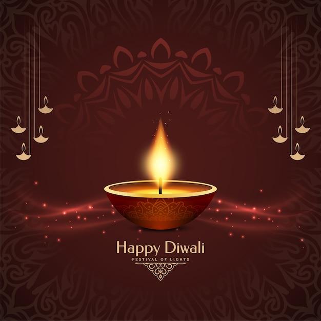 Dekorativer happy diwali kulturfestival hintergrund Kostenlosen Vektoren