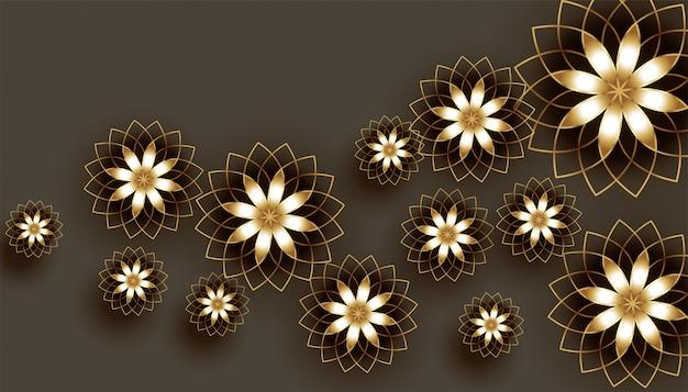 Dekorativer hintergrund der schönen goldenen blumen 3d Kostenlosen Vektoren
