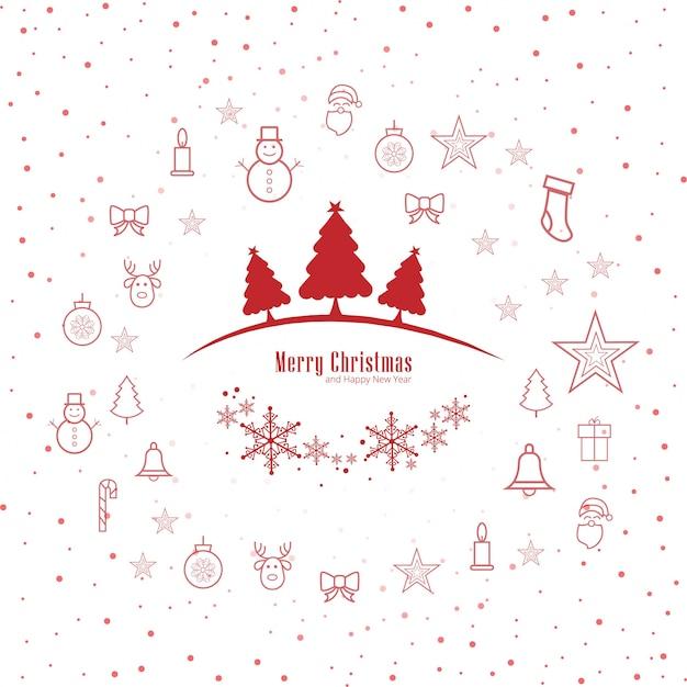 Dekorativer hintergrundvektor der frohen weihnachten grußkarte Kostenlosen Vektoren
