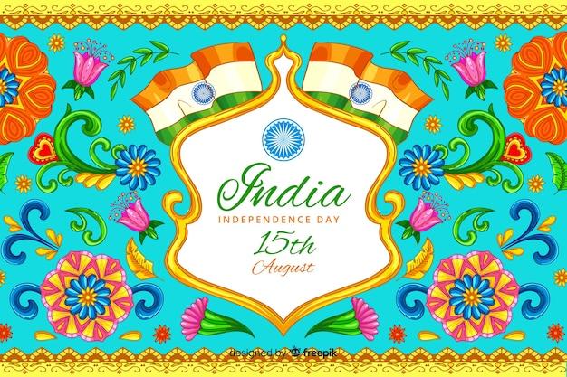 Dekorativer indischer unabhängigkeitstaghintergrund Kostenlosen Vektoren