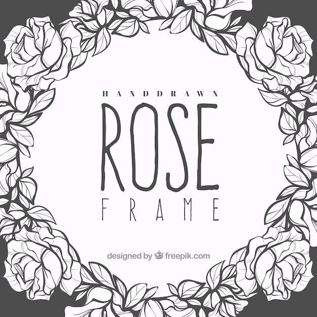Dekorativer Rahmen von handgezeichneten Rosen Kostenlose Vektoren