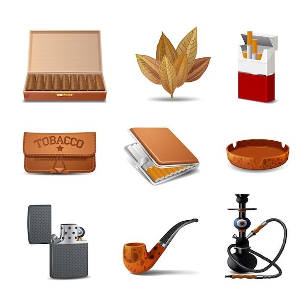 Dekorativer realistischer ikonensatz des tabaks Kostenlosen Vektoren