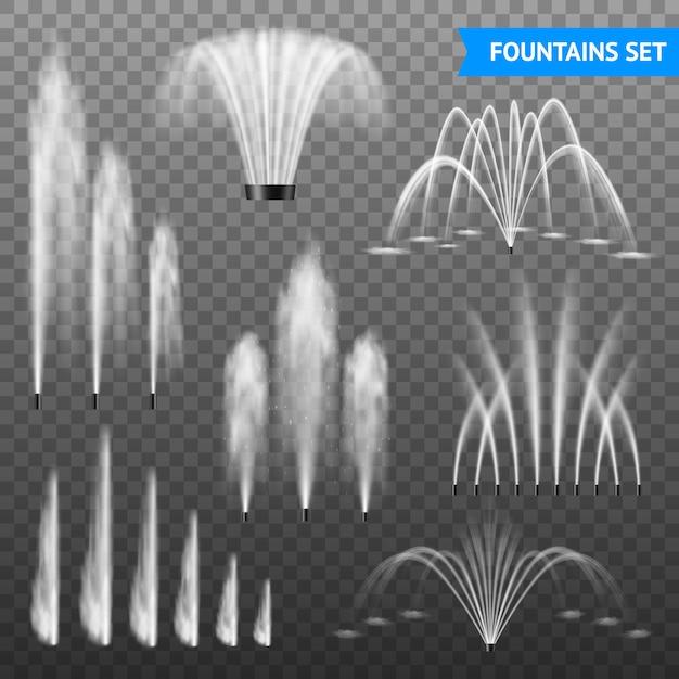 Dekorativer wasserbrunnen-strahlensatz im freien des größenbereichs der verschiedenen formen gegen transparenten hintergrund Kostenlosen Vektoren