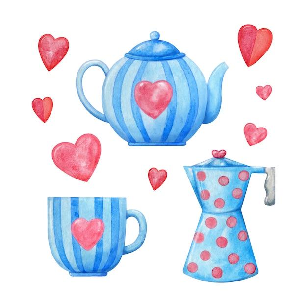 Dekoratives aquarellporzellan in blau mit rosa herzen. teetasse, wasserkocher, kaffeebecher Premium Vektoren