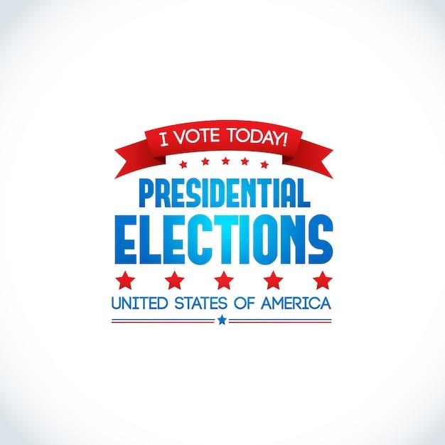 Dekoratives farbiges designplakat auf weiß mit slogan, um heute über präsidentschaftswahlen in den vereinigten staaten von amerika abzustimmen Kostenlosen Vektoren