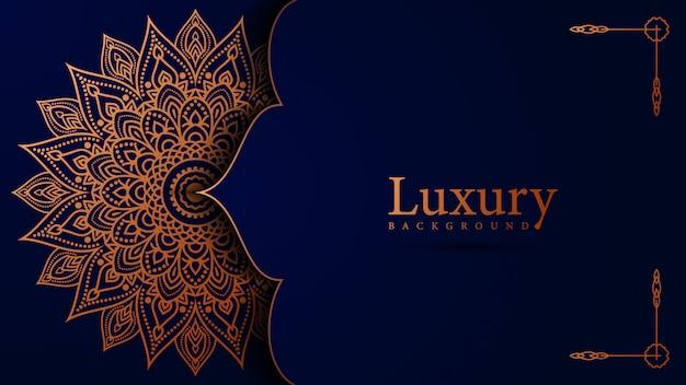 Dekoratives hintergrundmandalaluxusdesign im goldfarbevektor Premium Vektoren