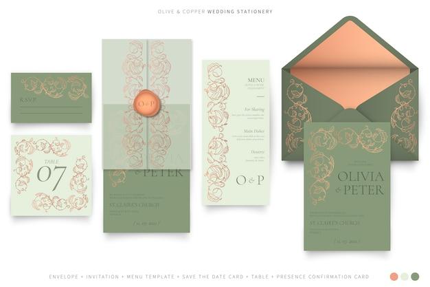 Dekoratives hochzeitsbriefpapier in der oliven- und kupferfarbpalette Kostenlosen Vektoren