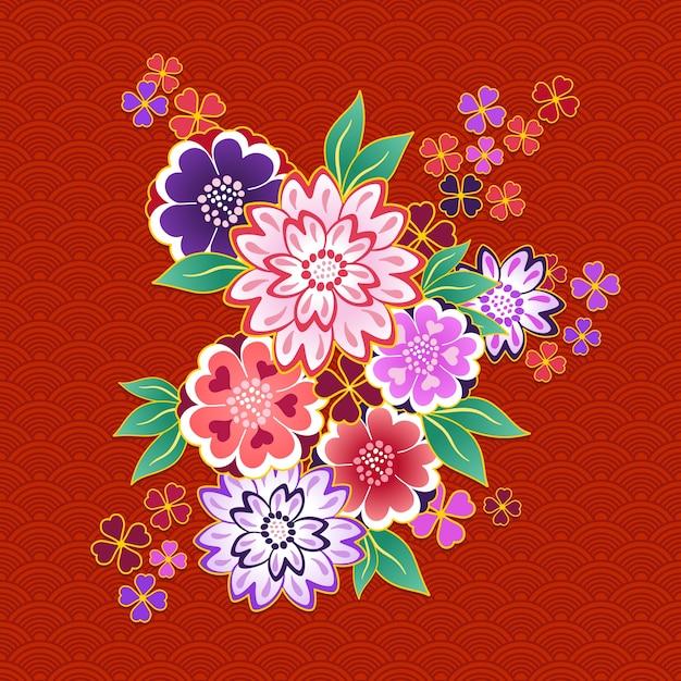 Dekoratives kimonoblumenmotiv auf rotem hintergrund Kostenlosen Vektoren