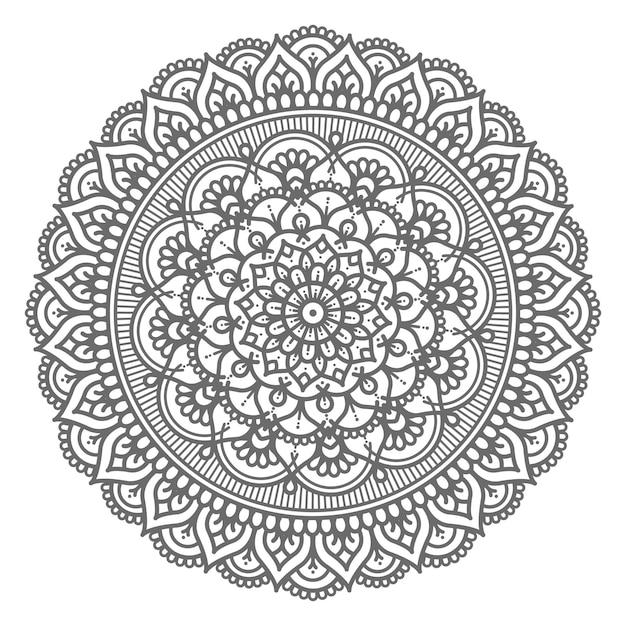 Dekoratives konzept der kreisförmigen und abstrakten mandalaillustration Premium Vektoren