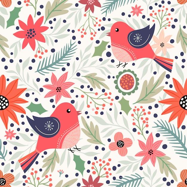 Dekoratives nahtloses weihnachtsmuster mit vögeln und winterelementen Premium Vektoren