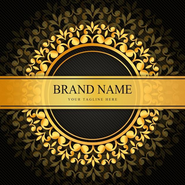 Dekoratives schwarzes und goldenes luxusdesign Premium Vektoren