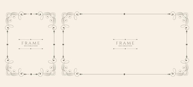 Dekoratives vintage blumenrahmen-set im hochzeitsstil Kostenlosen Vektoren