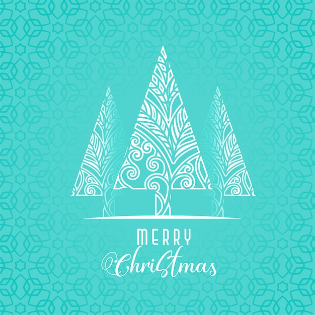 Dekoratives weihnachtsbaumdesign auf blauem hintergrund Kostenlosen Vektoren
