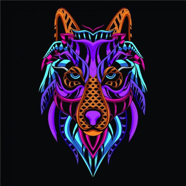 Dekoratives wolfsgesicht aus neonfarbe Premium Vektoren
