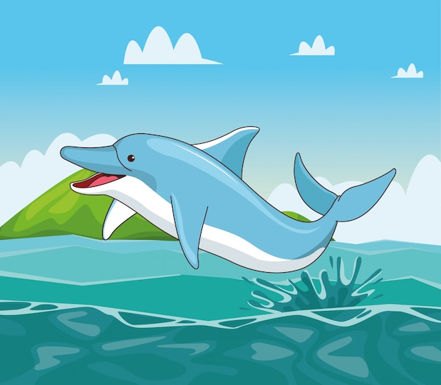 Delphin in der seekarikatur Premium Vektoren