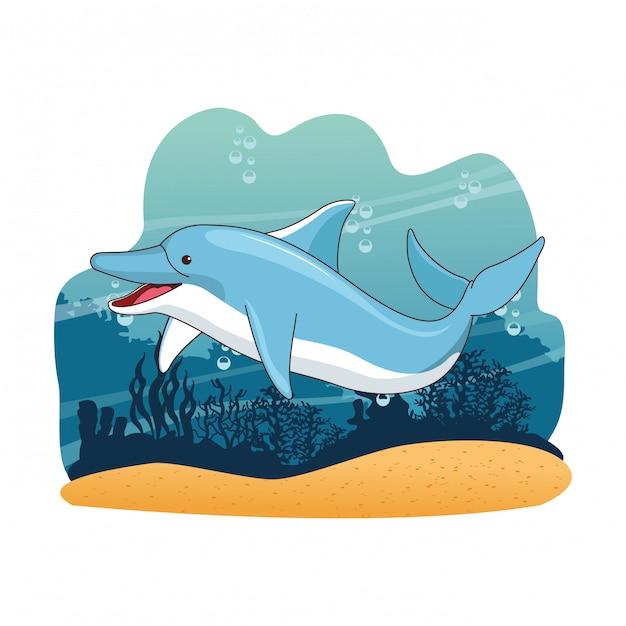 Delphin in der seekarikaturlandschaft Premium Vektoren