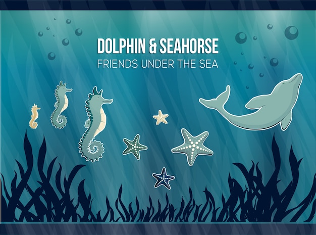 Delphin & seepferdchen Premium Vektoren