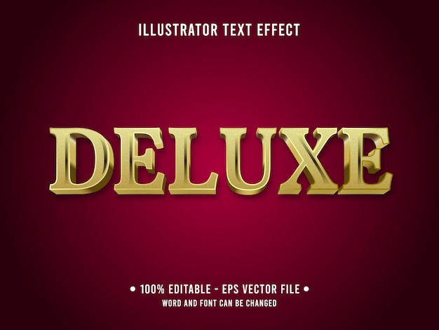 Deluxe bearbeitbarer text-effekt 3d metallic-stil mit goldfarbe Premium Vektoren